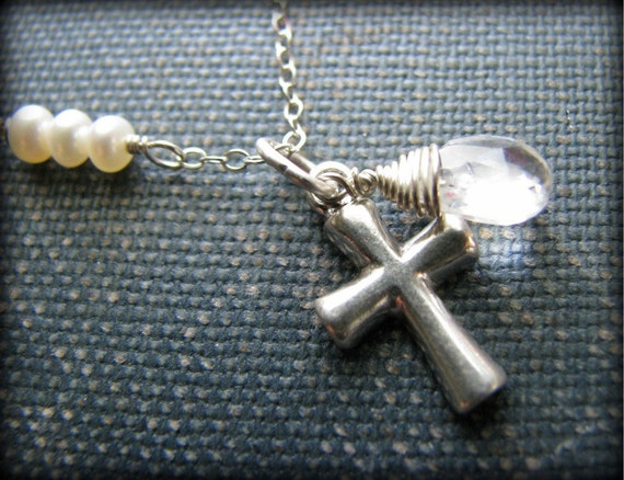 Popular Christs Tear Necklace / Sterling Silver Gemstone Pearls - Holy Trinity Jesus Tear