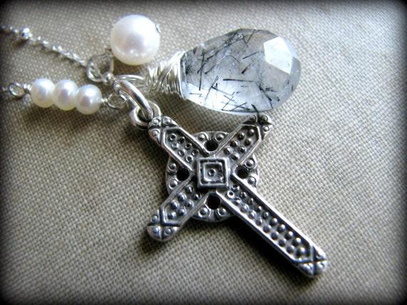 CELTIC IRISH CROSS Necklace Crucifix Sterling Silver Large Gemstone Gems Quartz Pearls Gemstones Gift Baptism Birthday Christmas