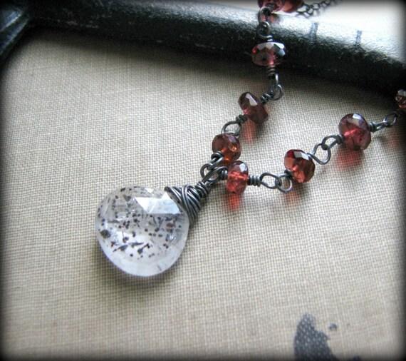 Super 7 and Garnets Necklace - REDUCED PRICE - Melody's Stone Seven Red Garnets Semi Precious Gemstones