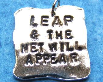 Leap Quotation Fine Silver Necklace