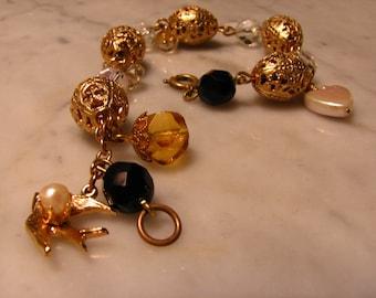 Vintage Filigree Bead Faceted Glass Mother of Pearl Bracelet