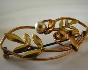 Vintage Pearl Flower Gold Filled Carl Art Brooch Nature Leaves