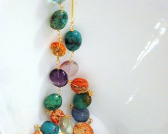 CANDY NECKLACE - authentic coral, fluorite, AA grade turquoise, hand linked gold fill necklace with chain  - free shipping