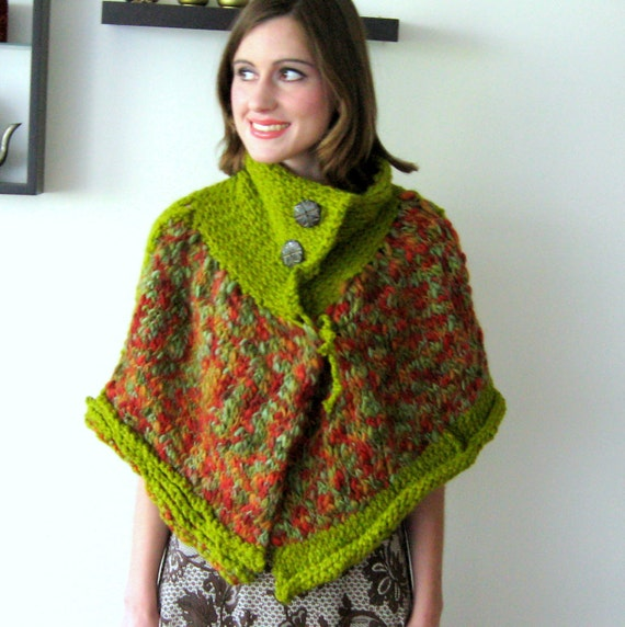 CANDY APPLE CAPE - Hand knitted cape in delicious fall colors - one size fits many