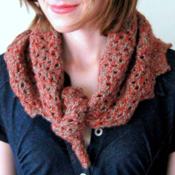 PUMPKIN SAGE KERCHIEF - wool and alpaca blend multipurpose mini shawlette -hand knit ooak