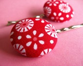 Tilda Mod Hair Pins - Set of 2 Fabric Covered Bobby Pins