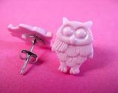 Pink Owl Stud Earrings - Surgical Steel Woodland Bird Ear Posts