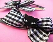 Black Cat Hair Clips - Set of 2 Gingham Hair Bows