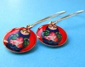 Matryoshka Kidney Wire Earrings - Russian Doll Dangles - Red