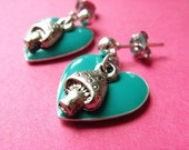 Hearts and Mushrooms Studs - Teal Heart and Toadstool Earposts