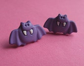 Purple Bat Stud Earrings - Halloween Ear Posts