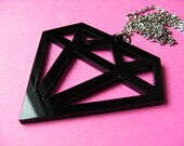 Large Black Fake Diamond Necklace - Huge Acrylic Laser Cut Pendant
