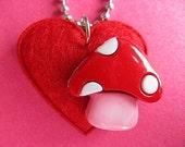 Mushroom Love Pendant - Felt Heart Necklace - Red