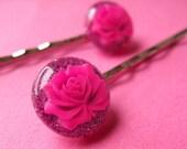 Glitter Rose Bobby Pins - Romantic Floral Hair Slides - Hot Pink