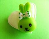 SALE - Kawaii Bunny Brooch - Cute Pin - Green and White