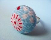 Mod Tilda - Fabric Covered Adjustable Ring - Light Blue