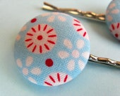 Tilda Mod Hair Pins - Set of 2 Fabric Covered Bobby Pins - Light Blue and Red