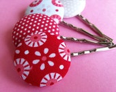 Mix and Match Tilda Mod Hair Pins - Fabric Covered Bobby Pins - Pink and Red