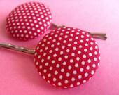 Red Polkadot Hair Pins - Fabric Covered Bobby Pins