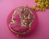 Pretty Girl - Pink and Gold Cameo Necklace