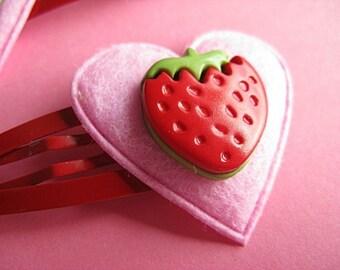 Strawberry Love Hair Clips - Felt Heart Clips
