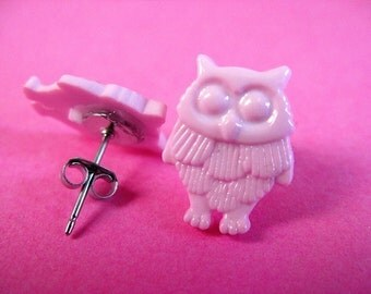 Pink Owl Stud Earrings - Surgical Steel Woodland Bird Ear Posts