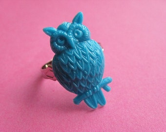 Teal Owl Ring - Whimsical Adjustable Ring