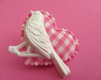 Heart and Bird Gingham Brooch - Pink and White