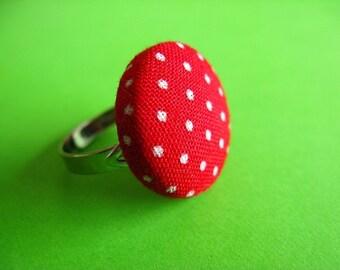 Polka Dot Ring - Fabric Covered Adjustable Ring
