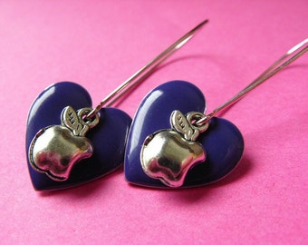 Hearts and Apples - Purple Heart  and Apple Earrings