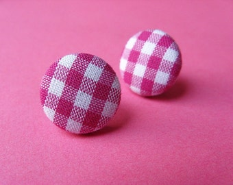 Pink Gingham Fabric Covered Stud Earrings