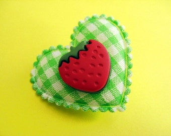 Heart and Strawberry Gingham Brooch - Green and Red