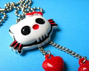 Skull Kitty Pendant Necklace - Red