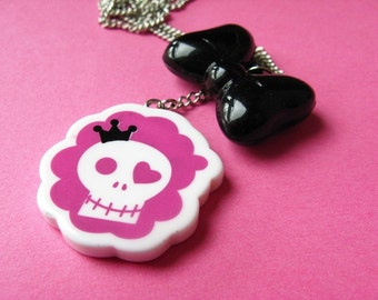 SALE - King Skull and Bow Necklace - Pink and Black