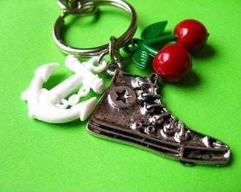 Retro Mix  - Sneakers, Cherries and Anchor Keychain or Bag Charm