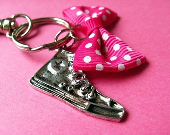 Converse All Stars Sneaker and Polka Dot Bow Keychain or Bag Hanger