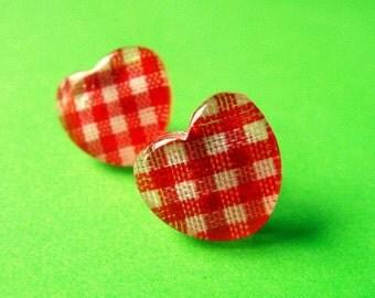 Red Checkered Gingham Heart Stud Earrings - Resin Ear Posts