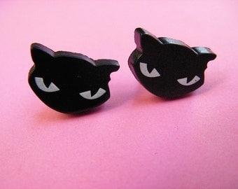 Black Cat Stud Earrings - Cute Kitty Ear Posts
