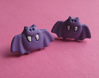 Purple Bat Stud Earrings - Halloween Ear Posts