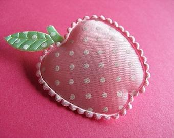 Pink Polka Dot Apple Brooch