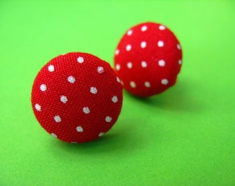 Red Polka Dot  Fabric Covered Stud Earrings - Retro Ear Posts