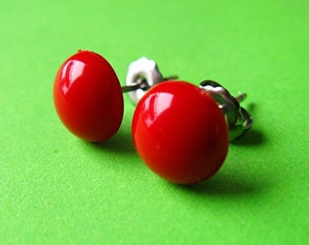 Dotties Dome Ear Posts - Round Bright Red Mod Stud Earrings