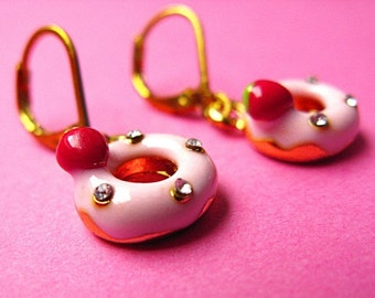 Kawaii Strawberry Donut Earrings - Gold, Pink & Red - With Rhinestones