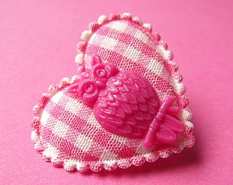 Heart and Owl Gingham Brooch - Pink and White