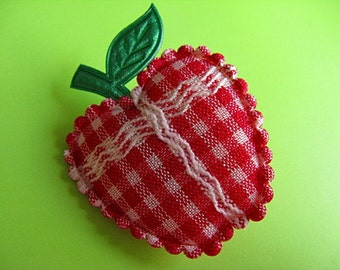 Red Gingham Apple Brooch