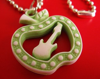 SALE - Green Apple Guitar Necklace