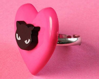 Large Heart & Black Cat Ring - Kitsch Adjustable Ring - Pink and Black