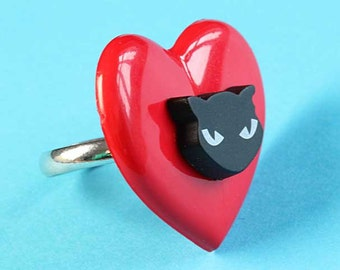 Large Heart & Black Cat Ring - Kitsch Adjustable Ring - Red and Black