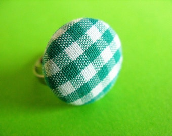 Green and White Gingham Ring - Fabric Covered Adjustable Ring