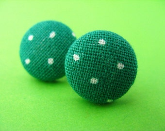 Green Polka Dot Fabric Covered Stud Earrings